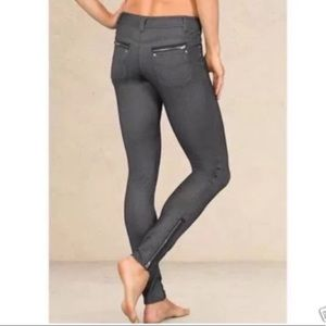 Athleta Black Jegging Faux Denim Pants Ankle Zips